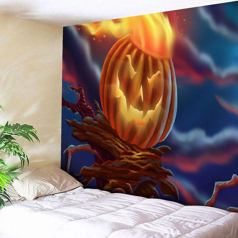 Pumpkin Lamp Wall Hanging Halloween Tapestry - COLORMIX W91 INCH * L71 INCH