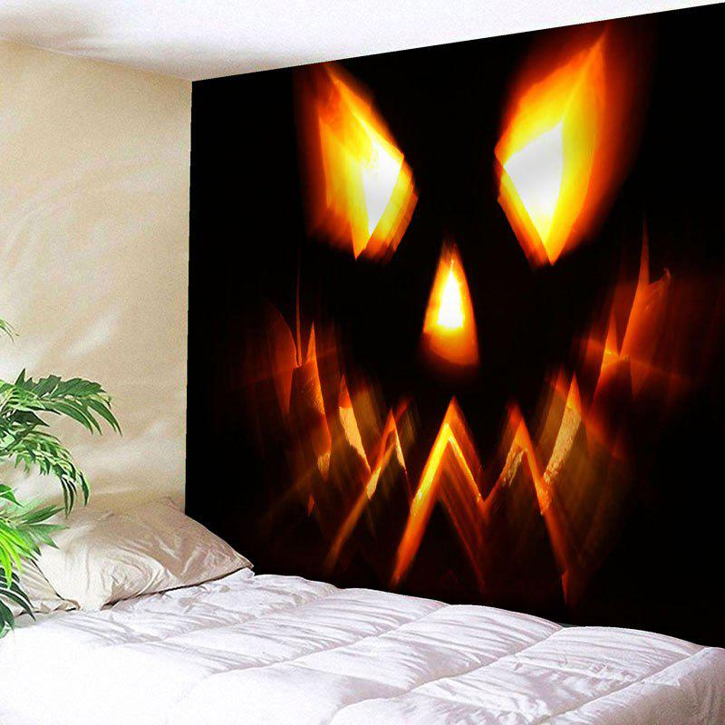 Pumpkin Lamp Wall Art Halloween Tapestry - BLACK W91 INCH * L71 INCH