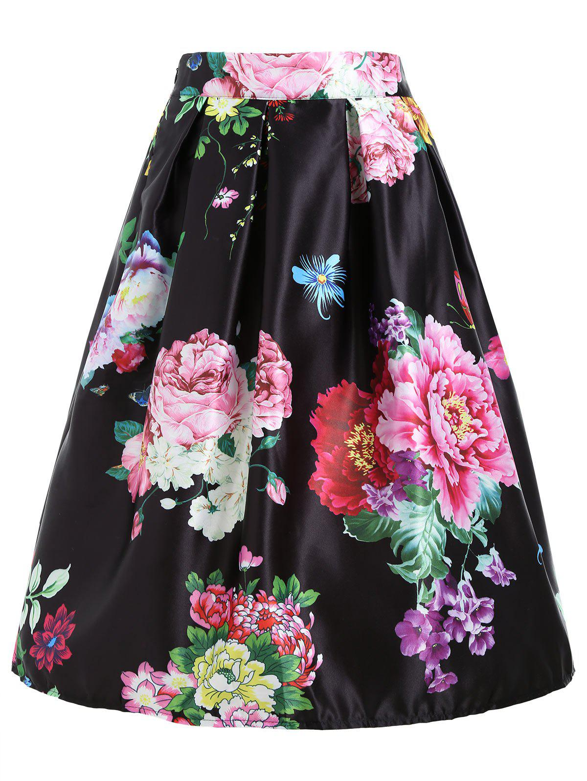 High Waisted Floral Midi Skirt - BLACK ONE SIZE