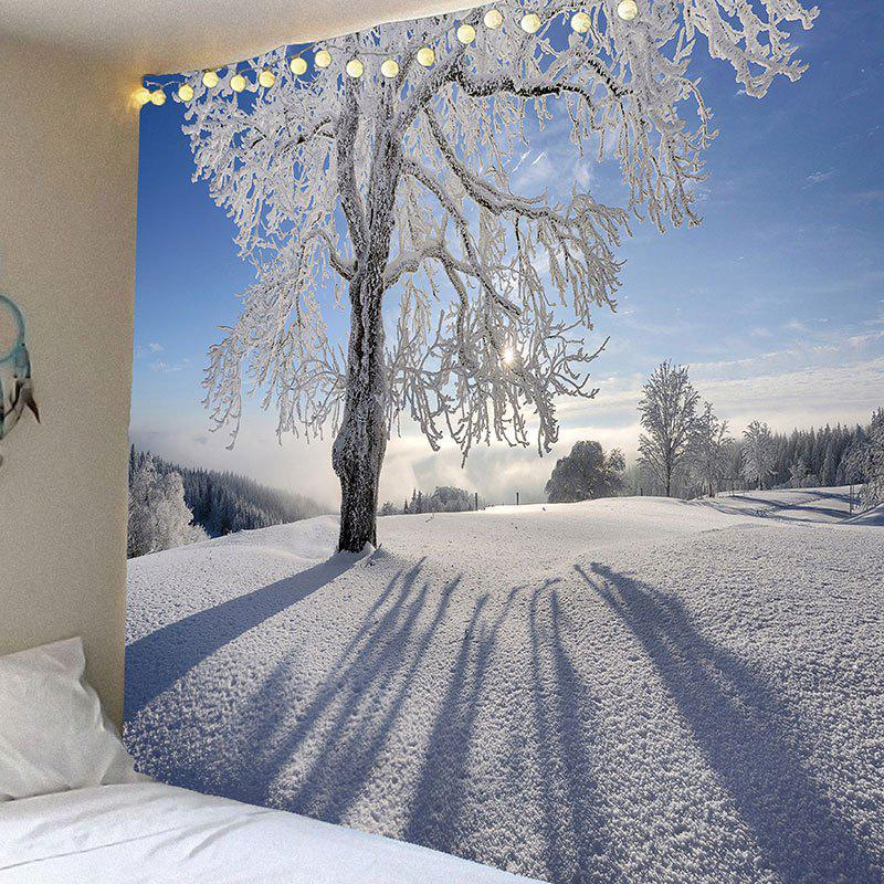 Snowfield Trees Pattern Waterproof Wall Decor Tapestry waterproof swans cascade trees wall tapestry