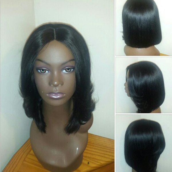 Center Parting Straight Medium Feathered Bob Synthetic Wig - BLACK
