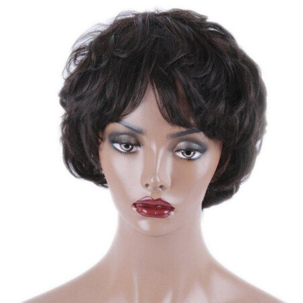 Short Inclined Bang Slightly Curled Synthetic Wig - BLACK