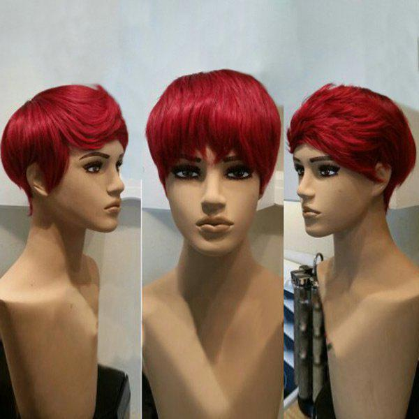 Free Part Short Straight Pixie Cut Synthetic Wig - RED