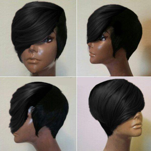 Short Layered Straight Synthetic Wig With Long Side Fringe - NATURAL BLACK
