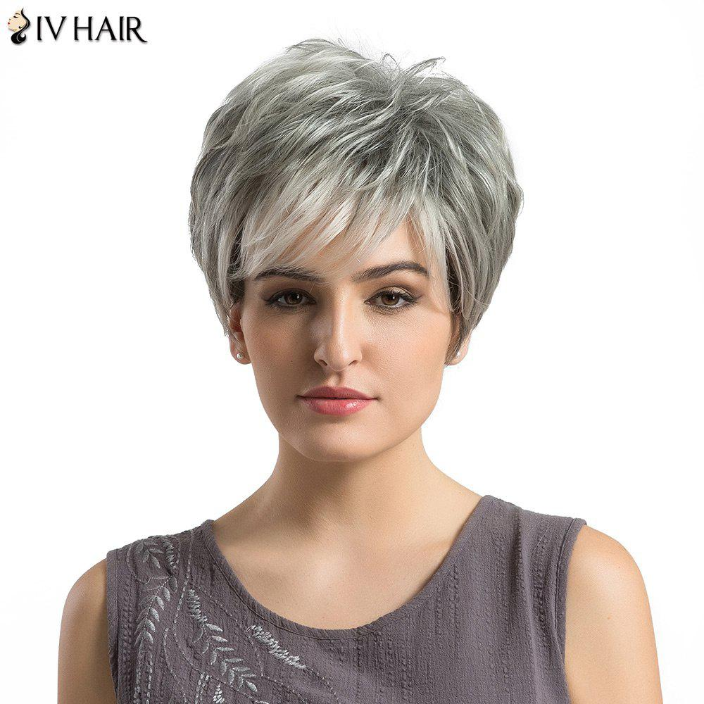 Siv Hair Short Incliné Bang Layered Fluffy Straight Hair Hair Wig - Cheveux Granny