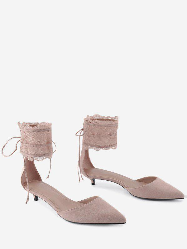 Two Pieces Ankle Strap Pointed Toe Sandals - SHALLOW PINK 38