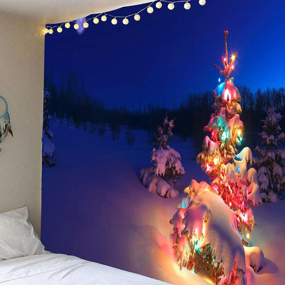 Christmas Tree Lighting Printed Waterproof Wall Art Tapestry christmas tree snowman printed wall tapestry