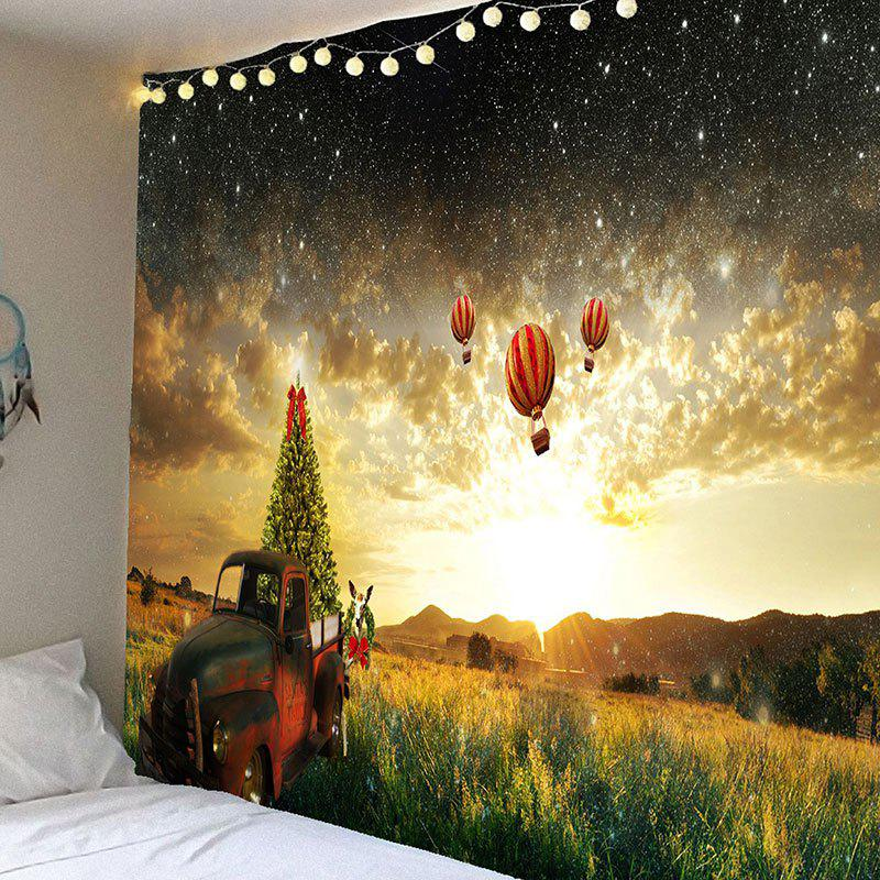 Waterproof Galaxy and Hot Air Balloon Pattern Wall Hanging Tapestry - COLORFUL W79 INCH * L71 INCH