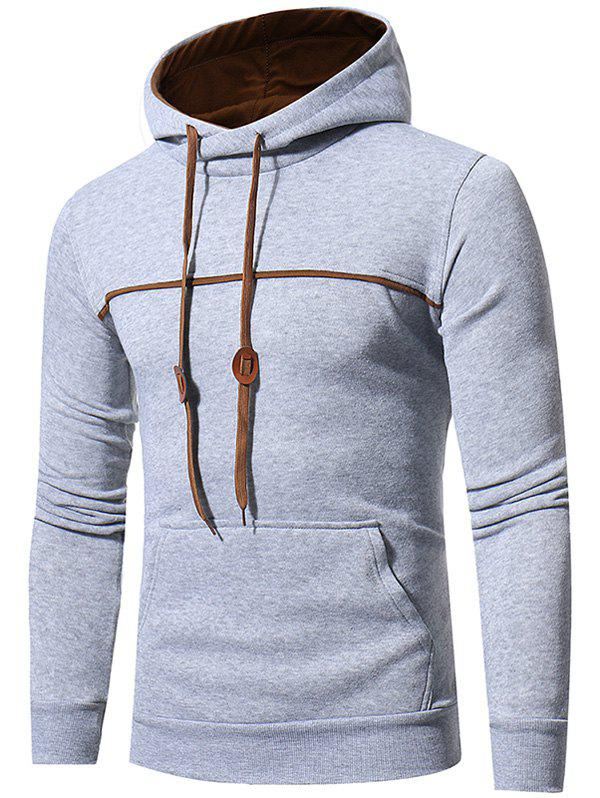 Sweat à Capuche Pull-over avec Bordure à Cordon en Toison - Gris clair M