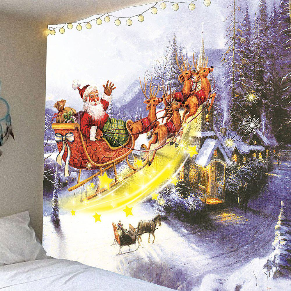 Christmas Carriage and Castle Printed Waterproof Wall Art Tapestry - COLORFUL W79 INCH * L71 INCH