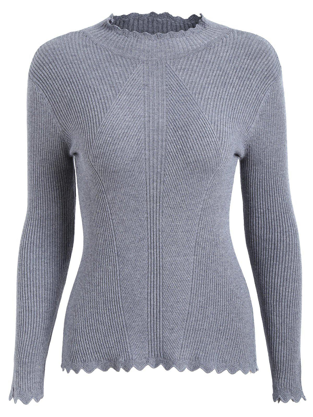 Plus Size High Neck Ribbed Scalloped Knitwear - GRAY 3XL