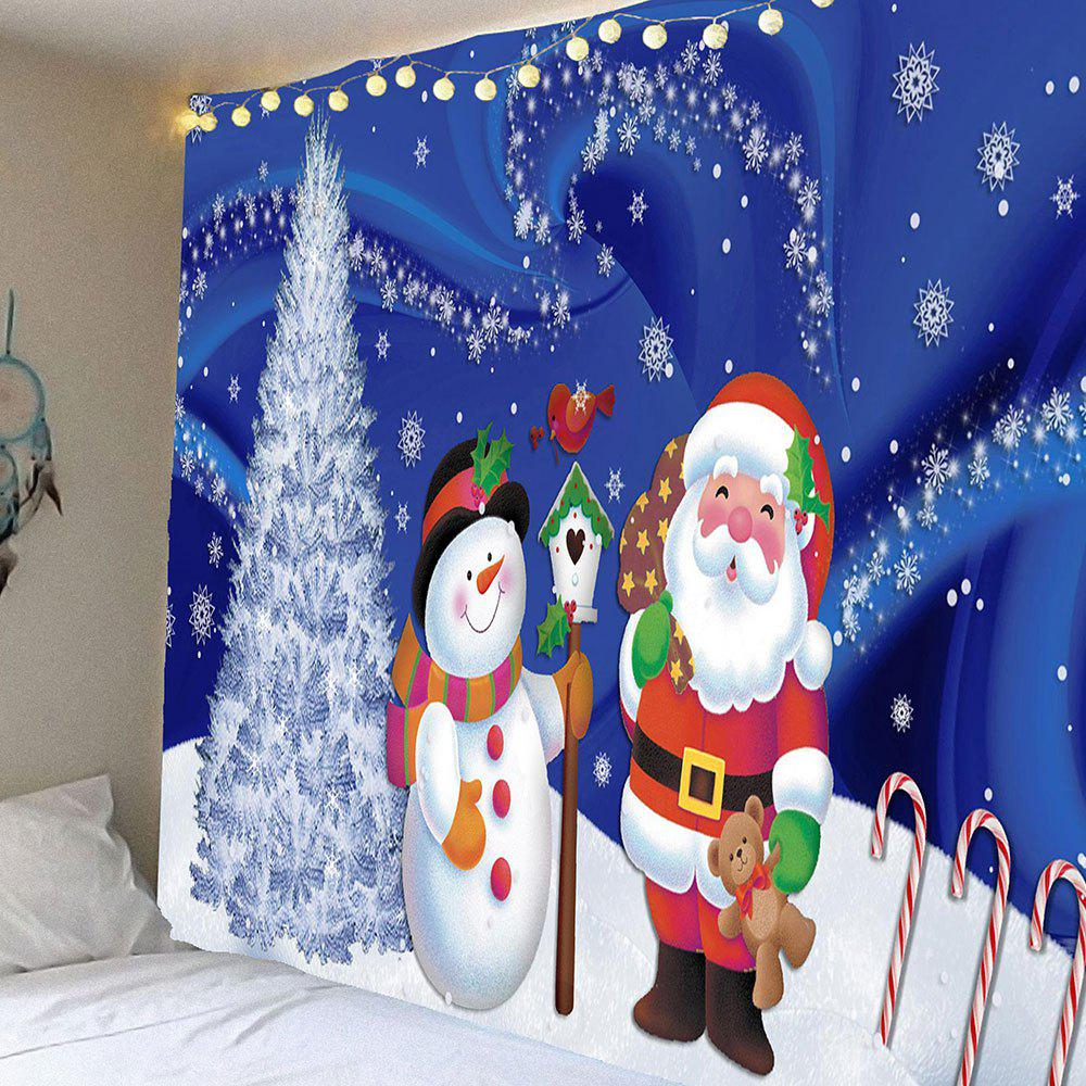 Waterproof Father Christmas and Snow Printed Wall Hanging Tapestry, Colormix
