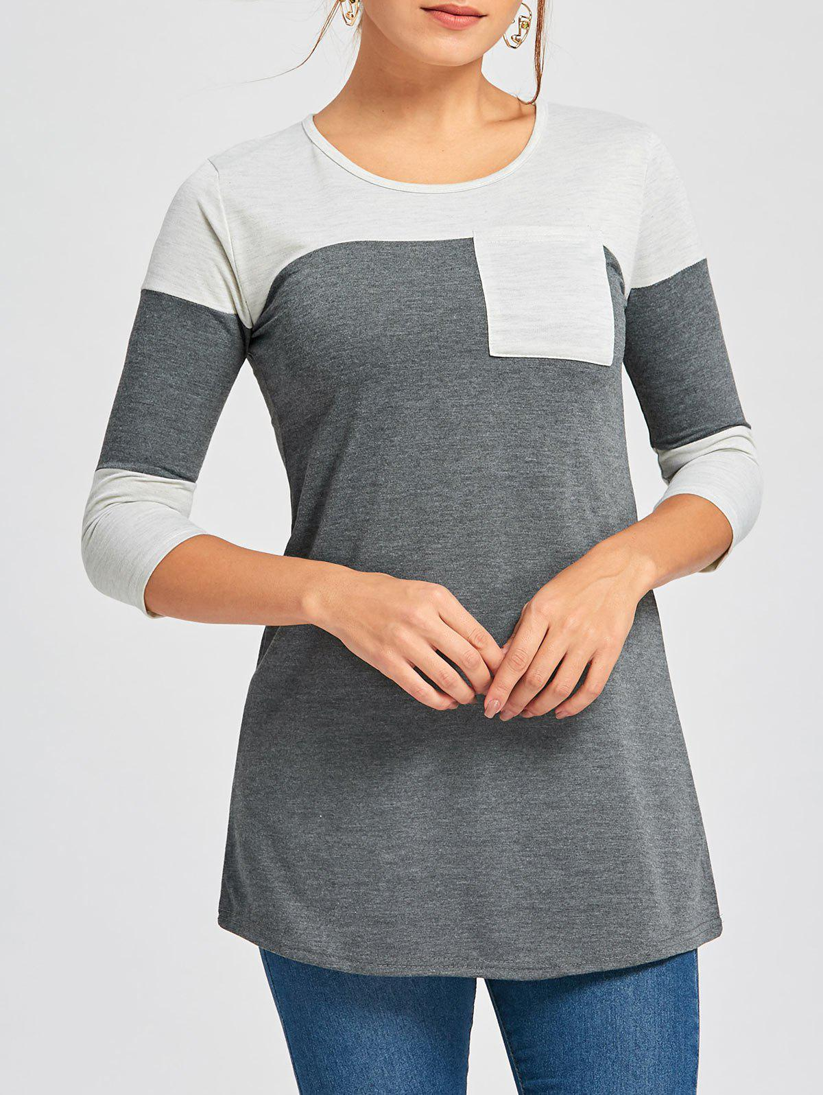 Color Block Tunic T Shirt - DEEP GRAY XL
