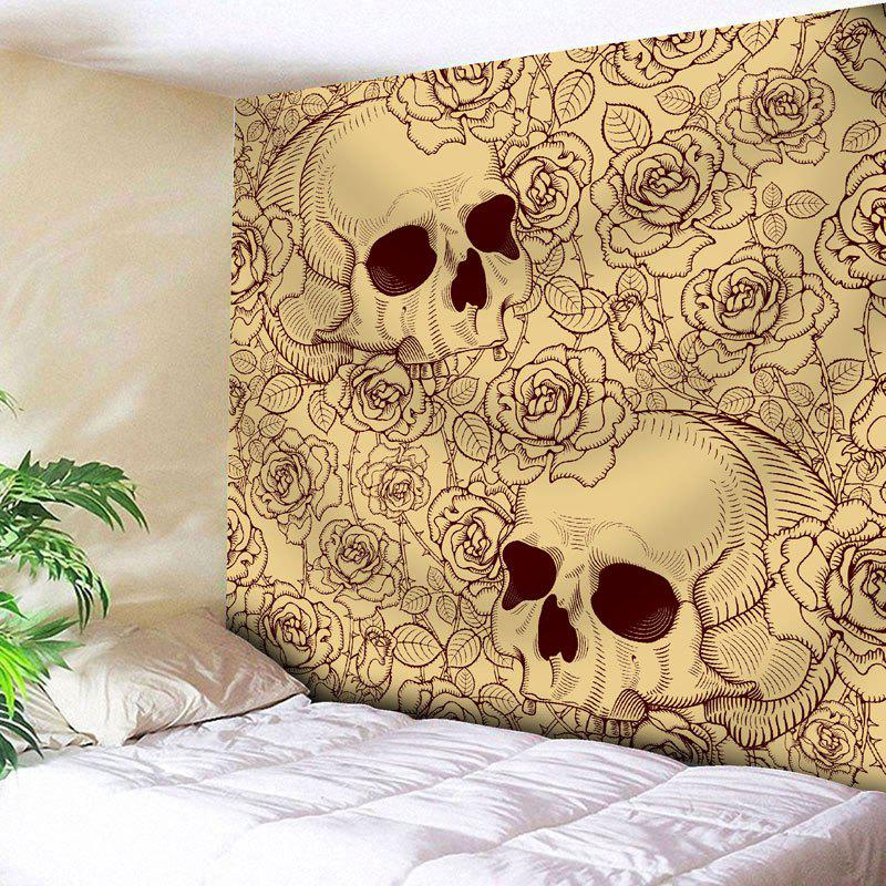 Floral Skull Print Bedroom Wall Tapestry   YELLOW W71 INCH * L71 INCH