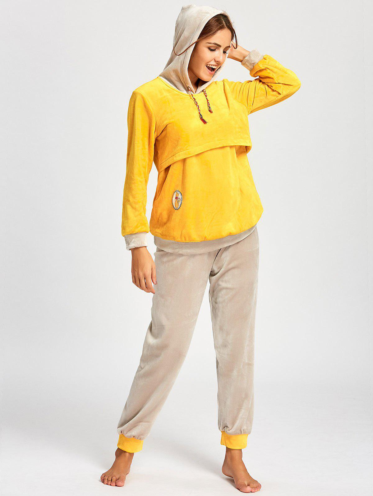 Hooded Fleece Nursing Pajamas Set - YELLOW L