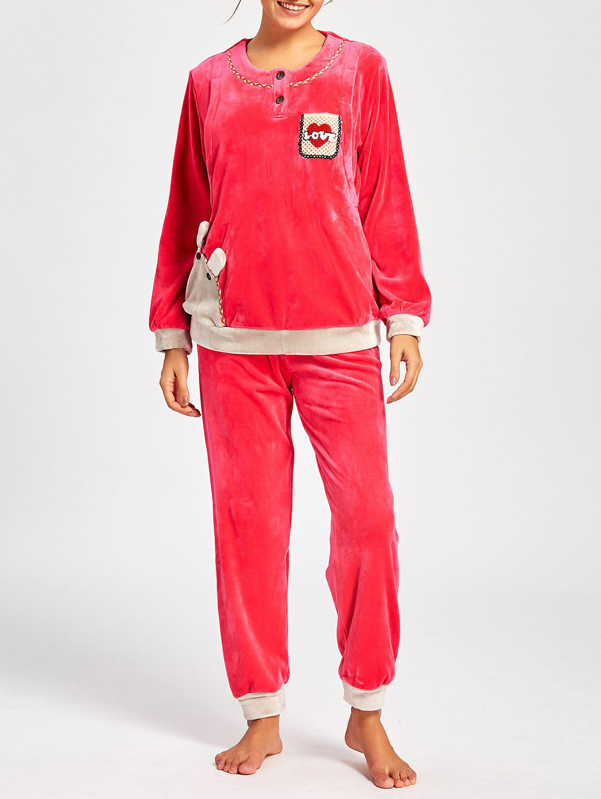 Winter Fleece Nursing Pajamas Set - WATER RED XL