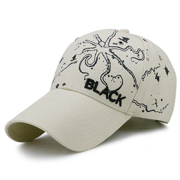 Black Embroidered Handpainted Print Baseball Hat - WHITE