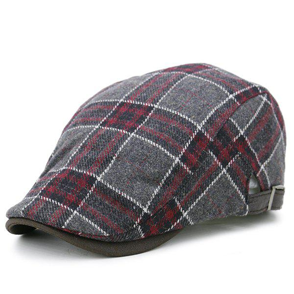 Faux Woolen Tartan Pattern Cabbie Hat - RED