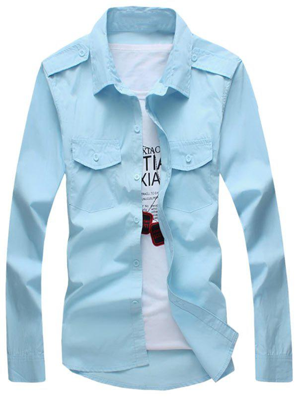 Epaulet Design Long Sleeve Flap Pocket Shirt - LIGHT BLUE L
