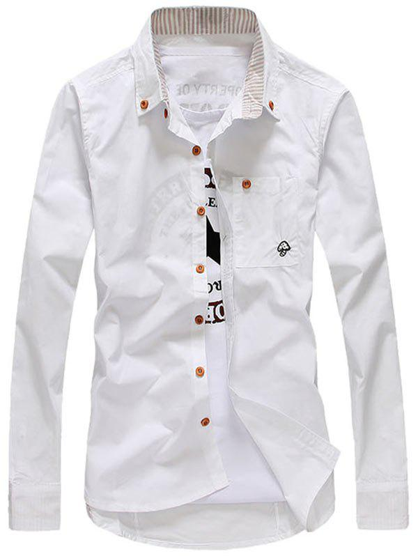 Mushroom Pattern Long Sleeve Pocket Shirt - WHITE L