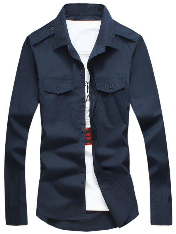 Epaulet Design Long Sleeve Flap Pocket Shirt - CADETBLUE L