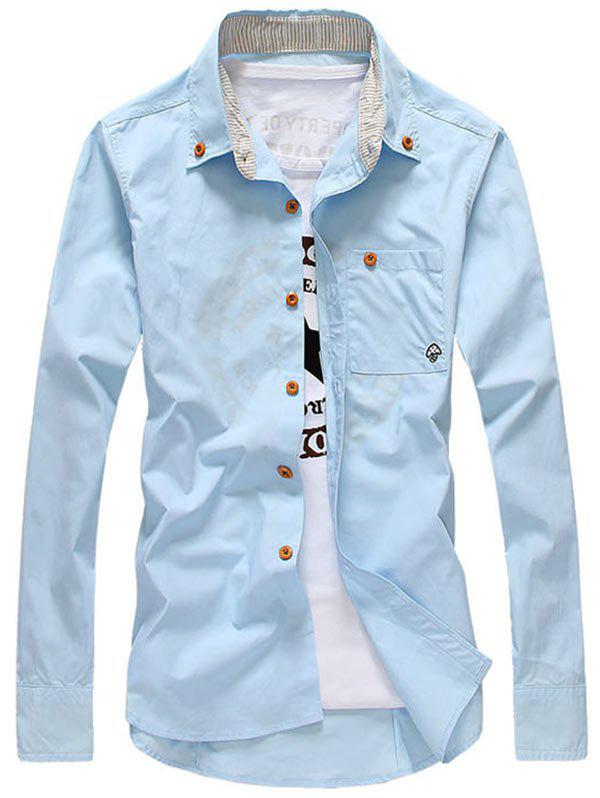 Mushroom Pattern Long Sleeve Pocket Shirt - LIGHT BLUE L
