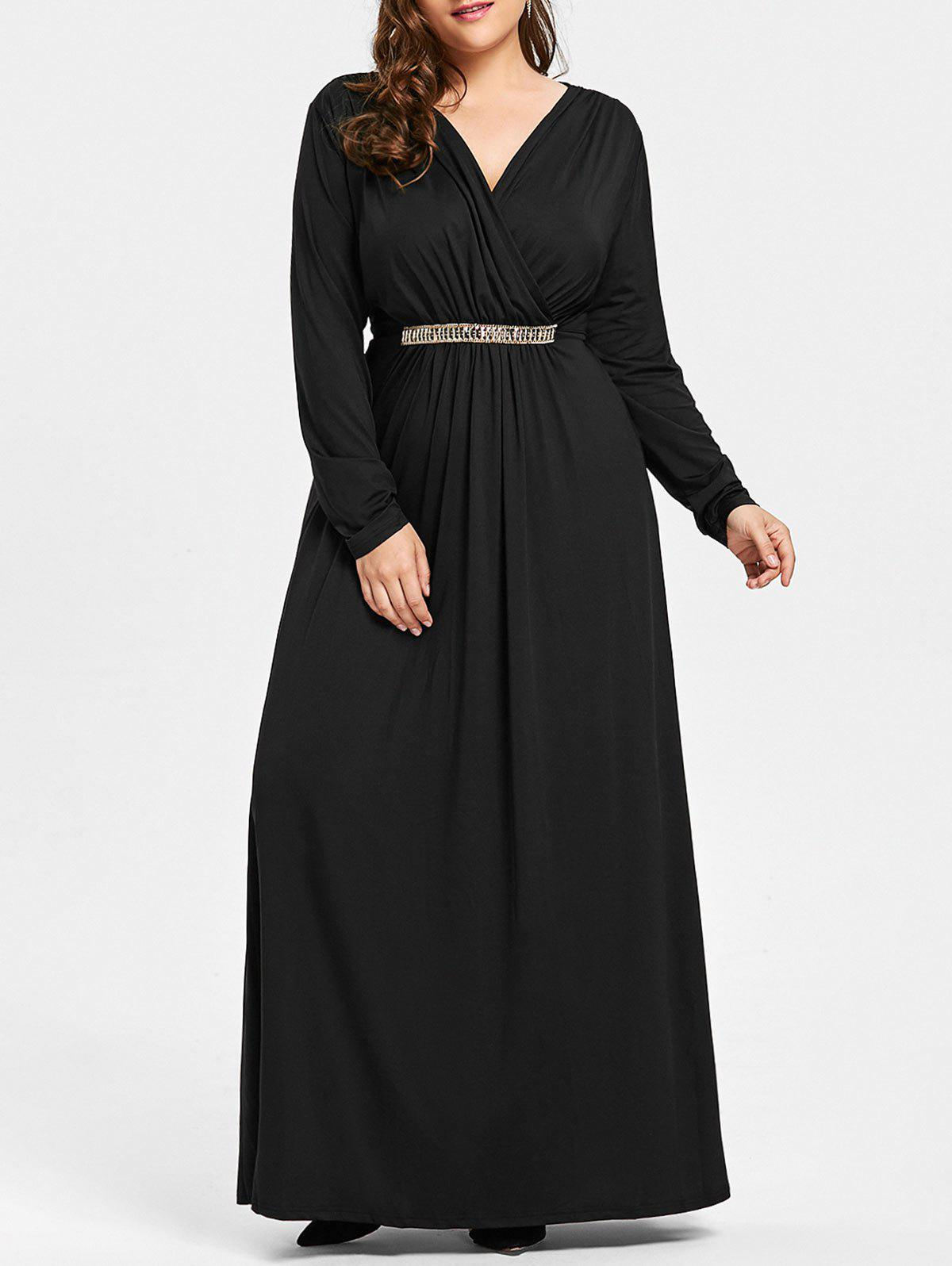 Plus Size Surplice Rhinestone Embellished Maxi Dress - BLACK 3XL