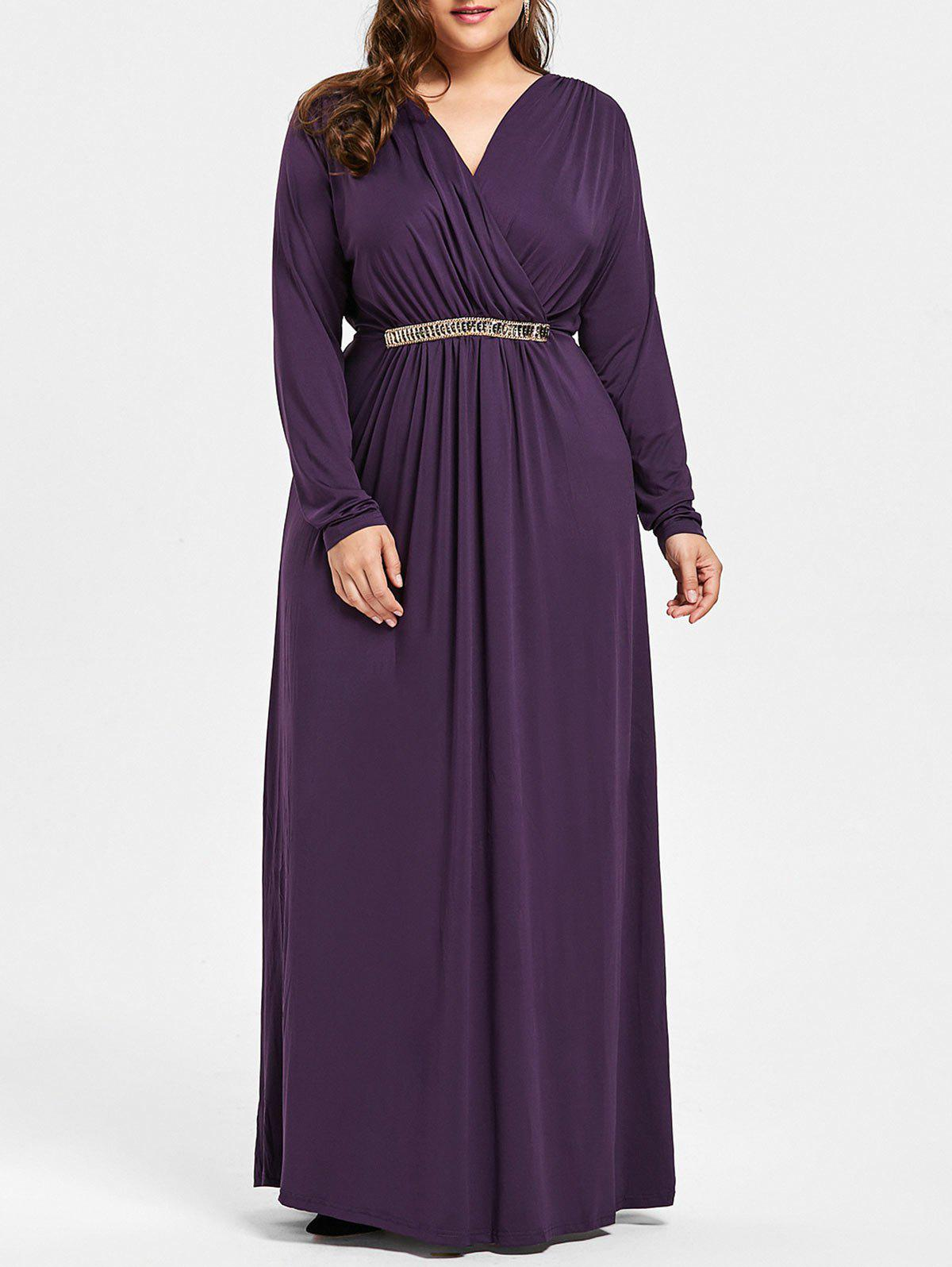 Plus Size Surplice Rhinestone Embellished Maxi Dress - DEEP PURPLE XL