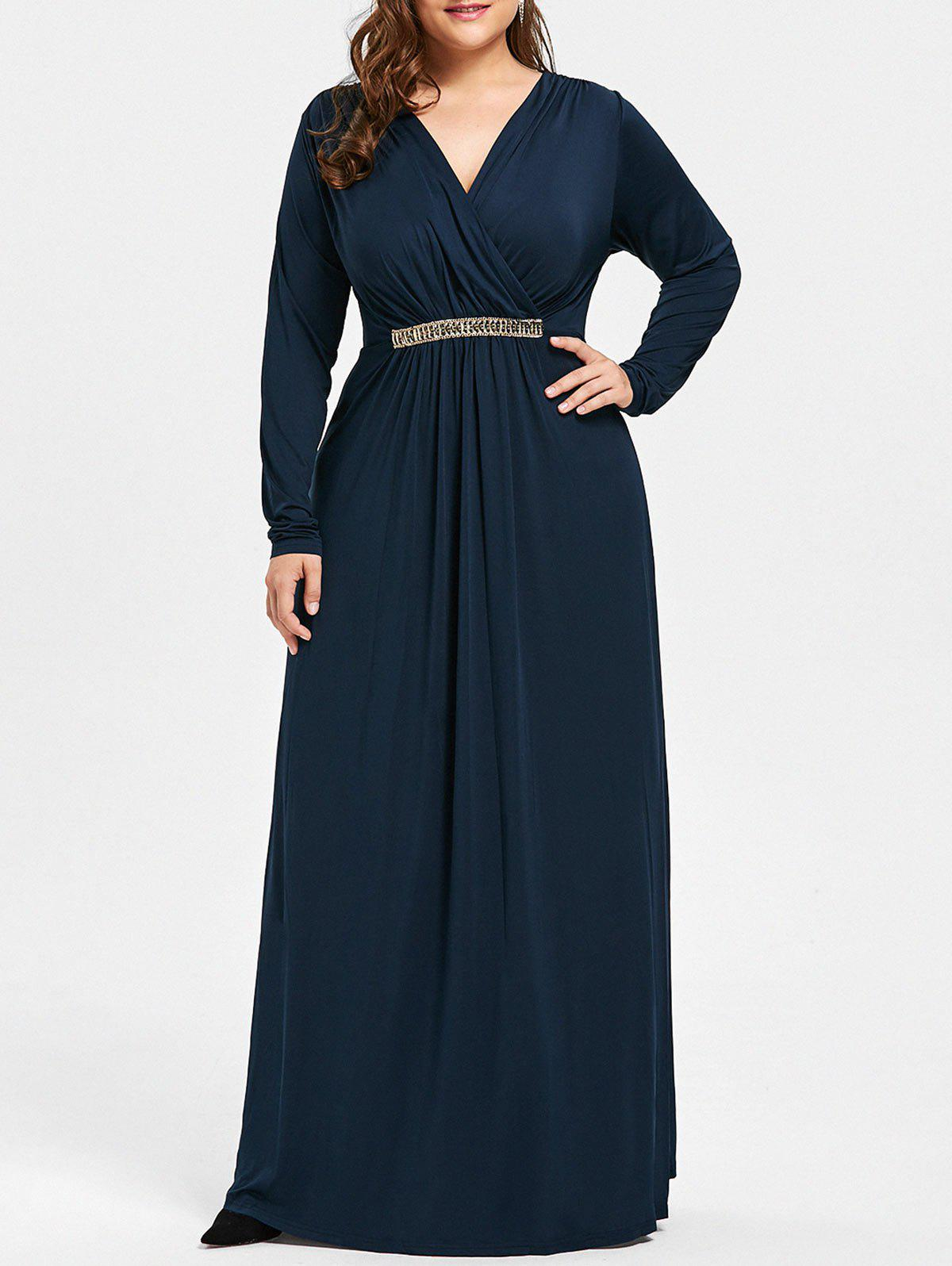 Plus Size Surplice Rhinestone Embellished Maxi Dress - DEEP BLUE 2XL