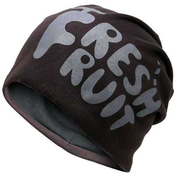Fresh Fruit Printed Knit Beanie Hat - ESPRESSO