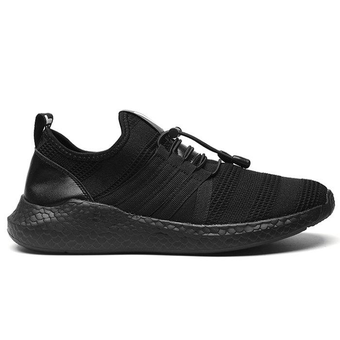 Mesh Tie Up Athletic Shoes - BLACK 42