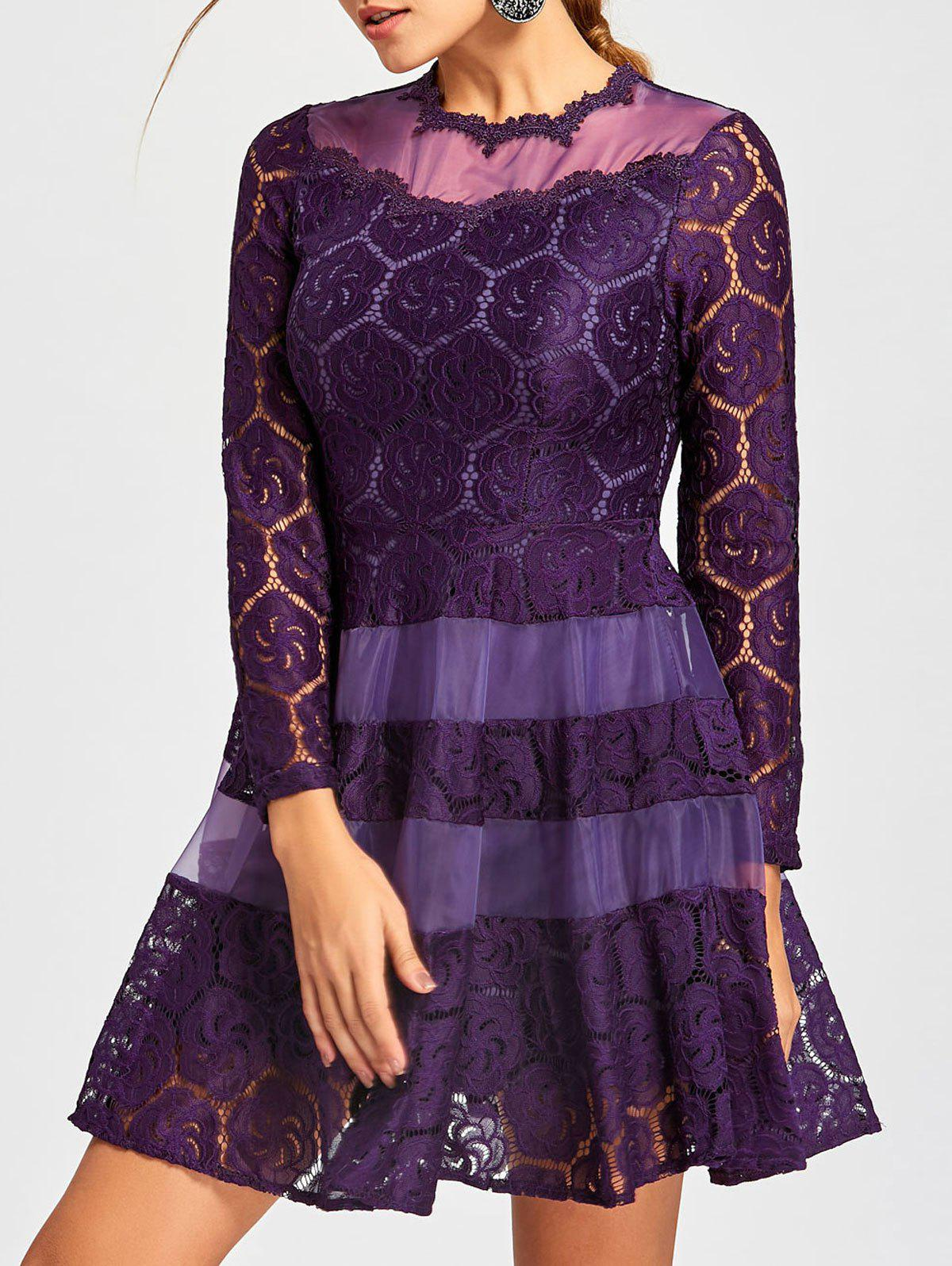Lace Mini A Line Dress - PURPLE S