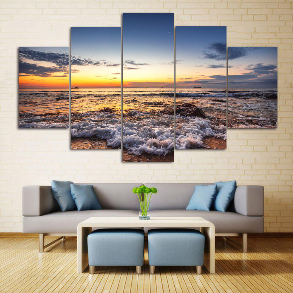 Beach Sunset Print Unframed Canvas Paintings seaside sunset sandbeach printed split unframed canvas paintings