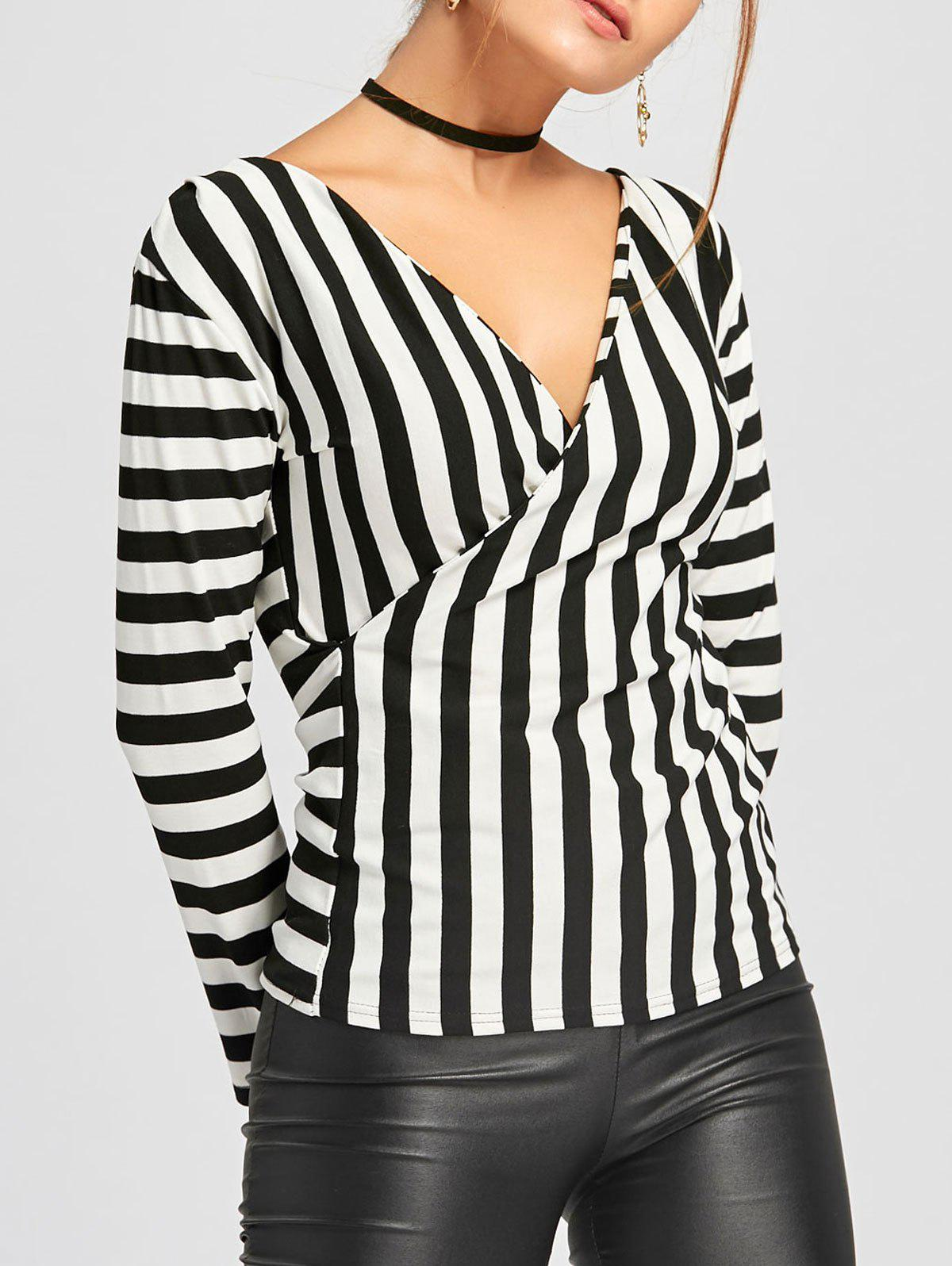 Long Sleeve Striped Surplice T-shirt - BLACK STRIPE XL