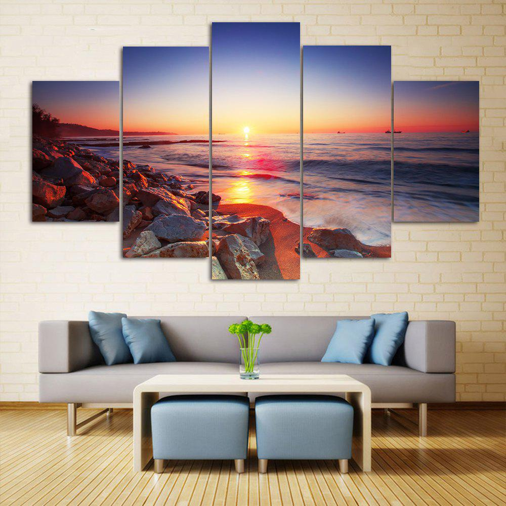 Sunset Beach Print Unframed Canvas Paintings seaside sunset sandbeach printed split unframed canvas paintings