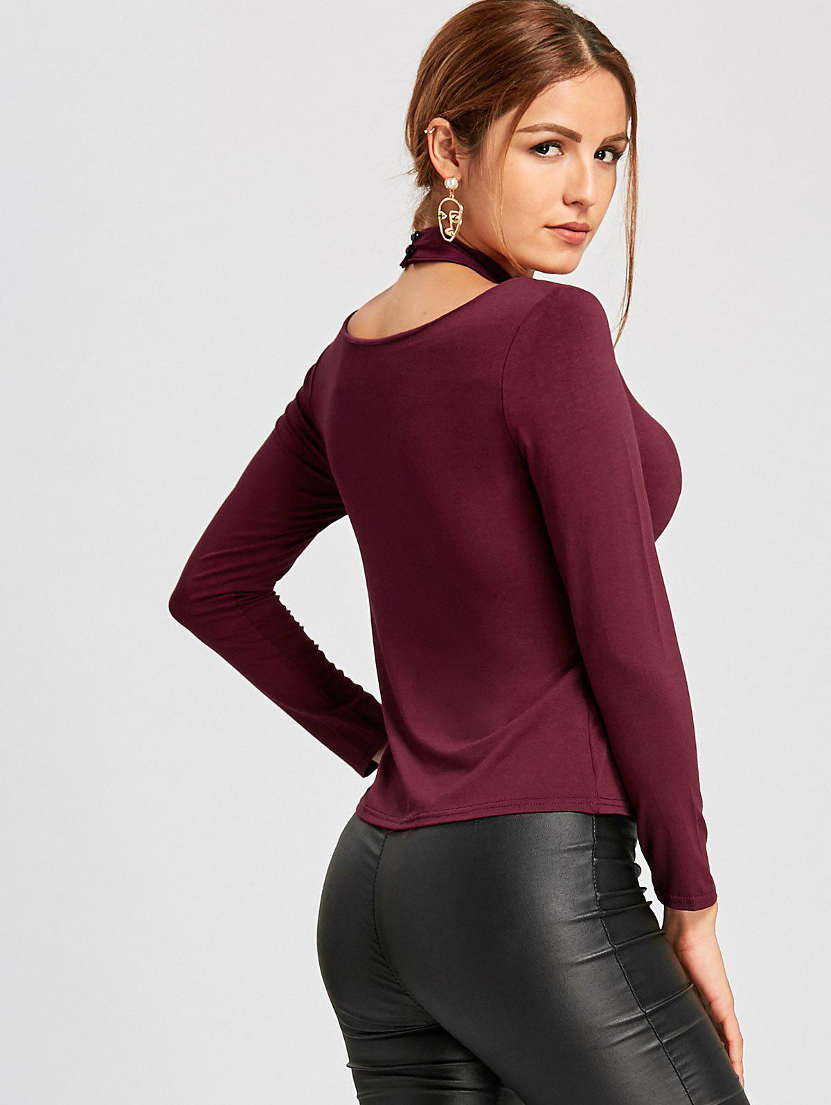 Cut Out High Neck T-shirt - WINE RED XL