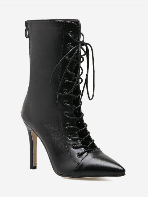 Stiletto Criss Cross Pointed Toe Boots - BLACK 39