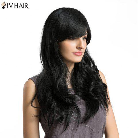 Siv Hair Long Oblique Bang Layered Wavy Human Hair Wig - BLACK