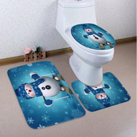 Christmas Snowman Skiing Pattern 3 Pcs Bathroom Toilet Mat - LAKE BLUE
