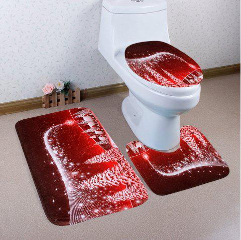 Christmas Village Pattern 3 Pcs Bathroom Toilet Mat - RED
