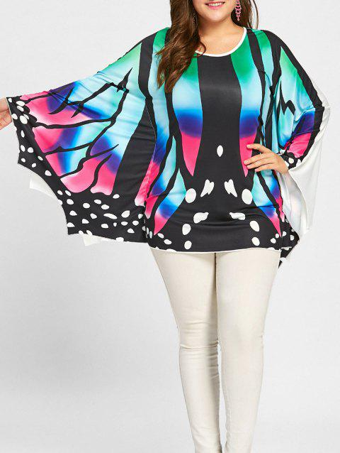 Plus Size Asymmetrical Butterfly Poncho Tee - COLORFUL XL