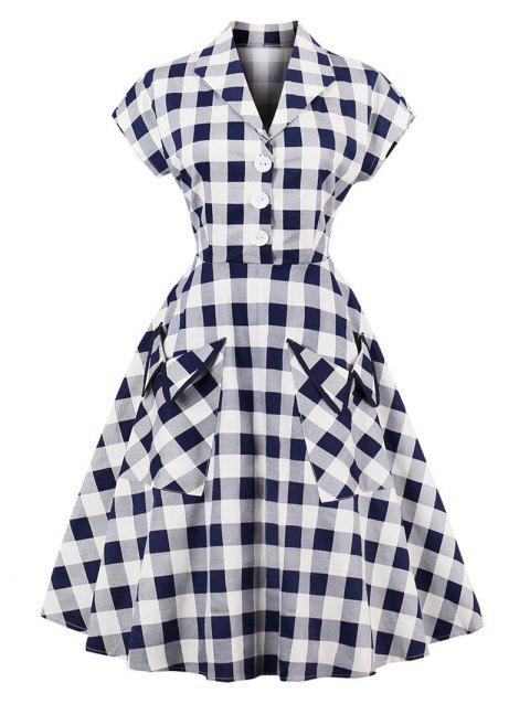 Vintage Plaid Pockets Henley Skater Dress - CHECKED 2XL