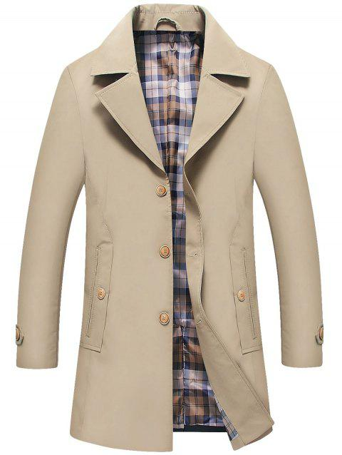 Lapel Collar Single Breasted Trench Coat - KHAKI 2XL