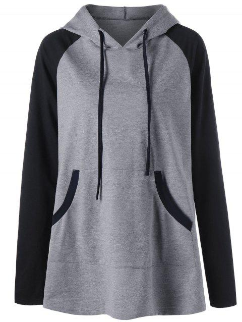 Plus Size Hooded Front Pocket Raglan Sleeve T-shirt - GRAY XL