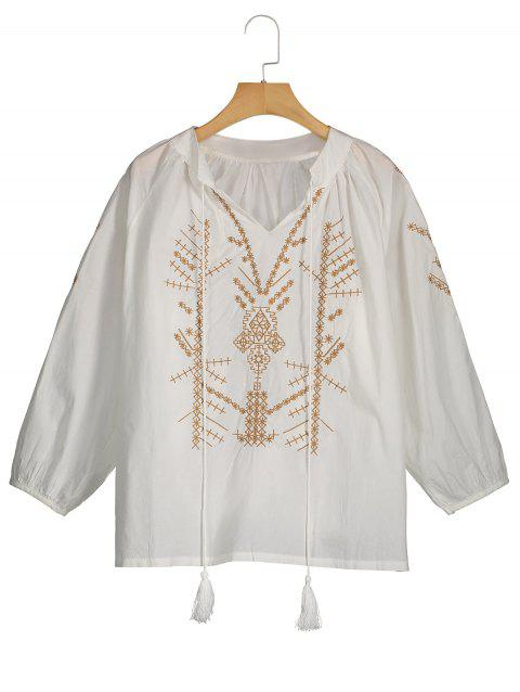 a375a9e27a00a2 17% OFF] 2019 Embroidery Plus Size Tassel Drawstring Blouse In WHITE ...