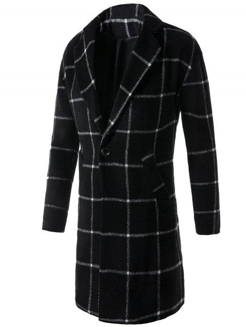 One Button Lapel Graphic Printed Checked Coat - BLACK L