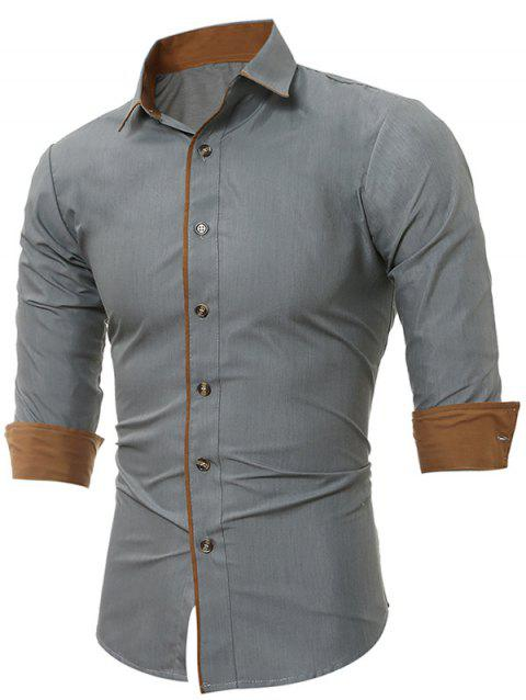 Color Block Edging Long Sleeve Shirts - GRAY M