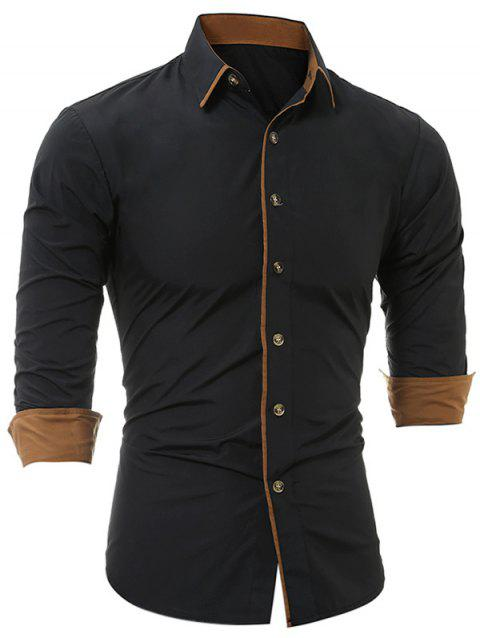 Color Block Edging Long Sleeve Shirts - BLACK L