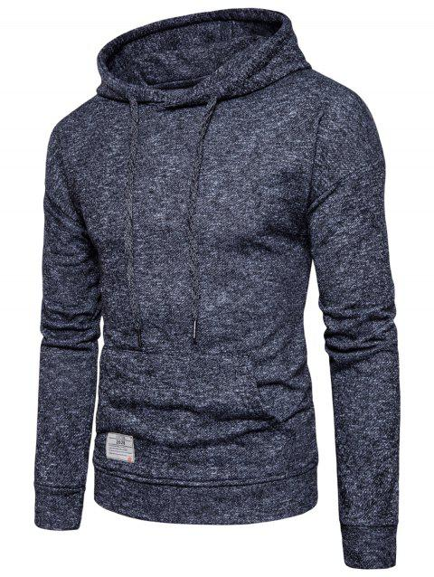 Drawstring Drop Shoulder Knitted Pullover Hoodie