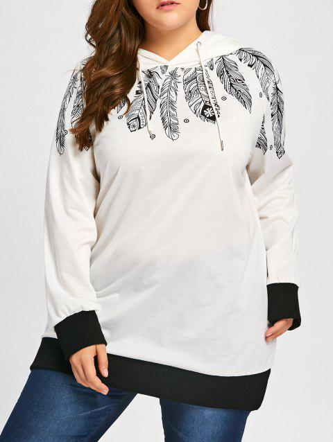 1f6d5e3bce9 LIMITED OFFER  2019 Plus Size Drawstring Feather Print Tunic Hoodie ...